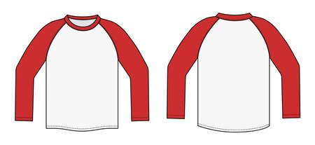Long sleeve rag-ran t-shirt illustration (red x white). Illustration