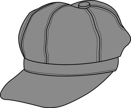 Newsboy cap in color gray illustration