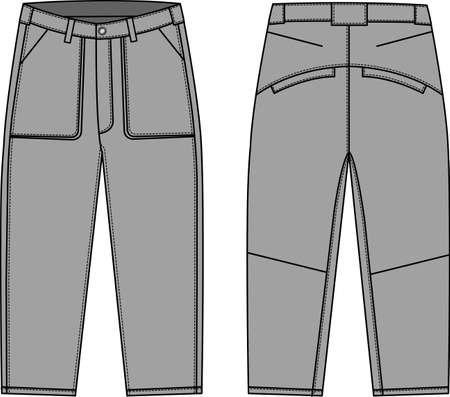 Denim pants illustration in front and back view illustration. Illustration