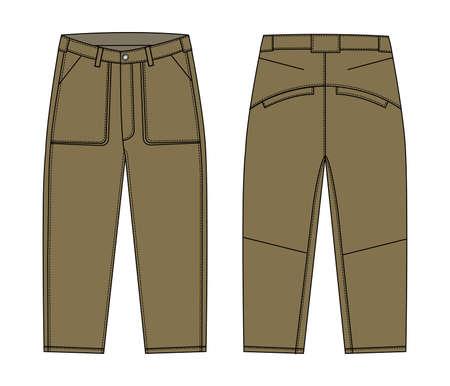 Illustration of men's cargo pants