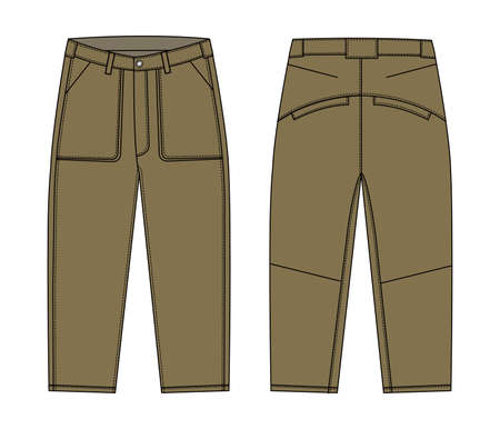 Illustration of men's cargo pants