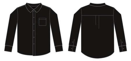 Black long sleeve business shirt illustration.