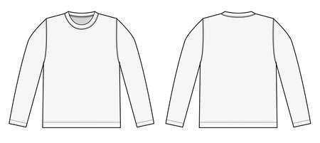 긴팔 티셔츠 일러스트 (흰색)