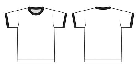 Ringer tshirts illustration (white x black). 矢量图像