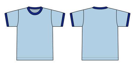Ringer tshirts illustration in light blue