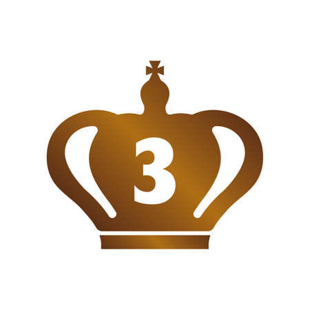Bronze crown icon on white background, vector illustration. Illustration