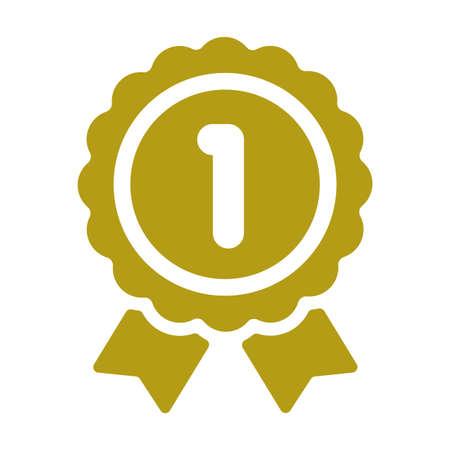 Ranking medal icon illustration. 1st place (gold).  イラスト・ベクター素材