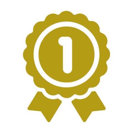 Ranking medal icon illustration. 1st place (gold). Vectores