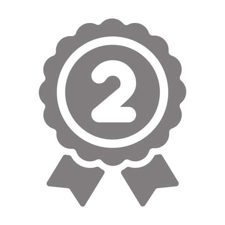 Ranking medal icon illustration. 2nd place (silver). Vectores