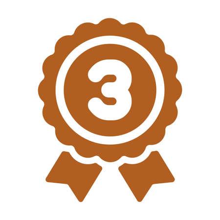 Ranking medal icon illustration. 3rd place (bronze). Illustration