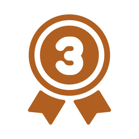 Ranking medal icon illustration 3rd place (bronze). 向量圖像