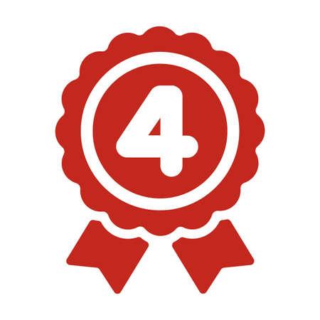 ランキングメダルアイコンイラスト4位。  イラスト・ベクター素材