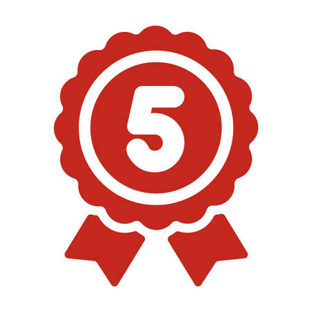 Ranking medal icon illustration 5th place.