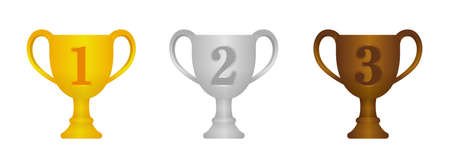 Trophy cup icon illustration set. Gold, silver, bronze from 1st place to 3rd place. Illustration