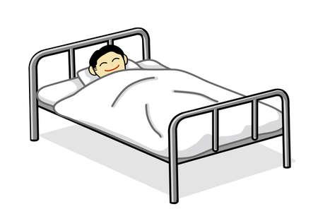 입원 (침대에 누워) 일러스트 레이션