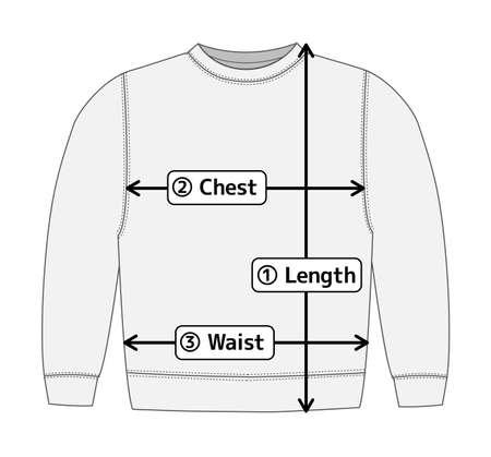 Sweatshirt illustration for size chart (english) Vettoriali
