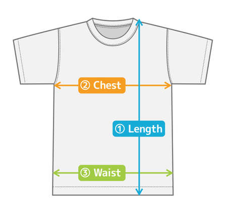 t-shirt illustration for size chart (english)  color version Illustration