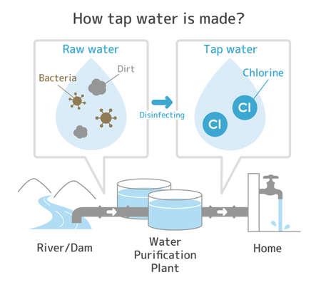 「水道水はどのように作られるか」のイラスト
