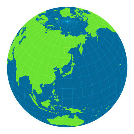 world map illustration (globe/sphere). the focus on Japan and east asia. Vectores