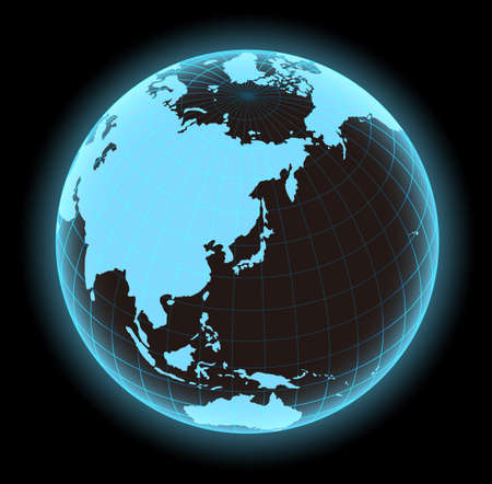 glowing world map vector illustration (globe/sphere). the focus on Japan and east asia.