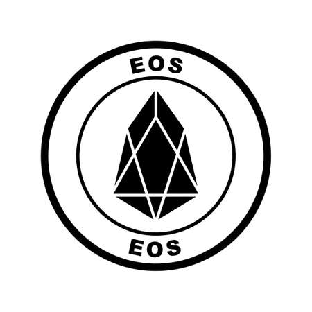 Crypto currency icon, eos, in black and white illustration.
