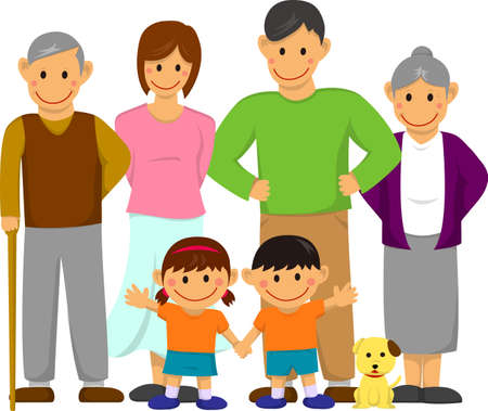Happy family illustration and with grandparents. Stock Illustratie