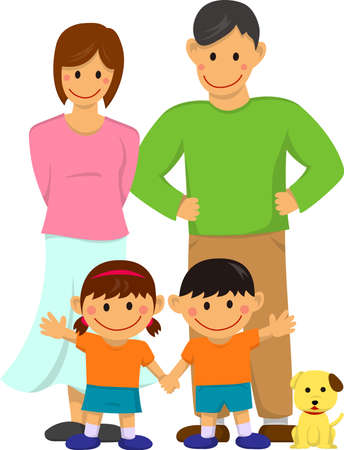 Happy family illustration with dog on white background. Stock Illustratie
