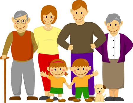 Happy family illustration and with grandparents.  イラスト・ベクター素材