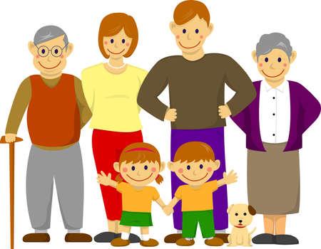 행복 한 가족 그림 및 조부모입니다.