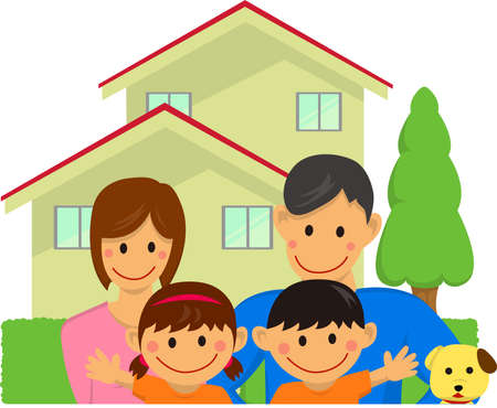 Happy family with house and trees, vector illustration.