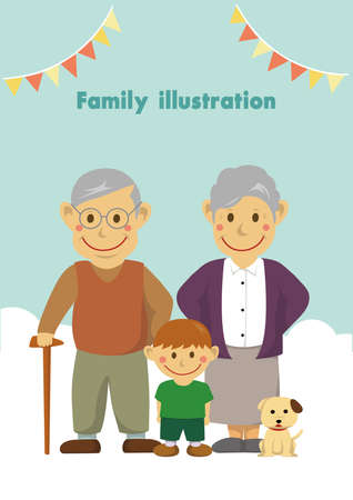 Family illustration of grandparents and grandson. Illustration