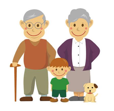 Family illustration of grandparents and grandson on white background Vettoriali
