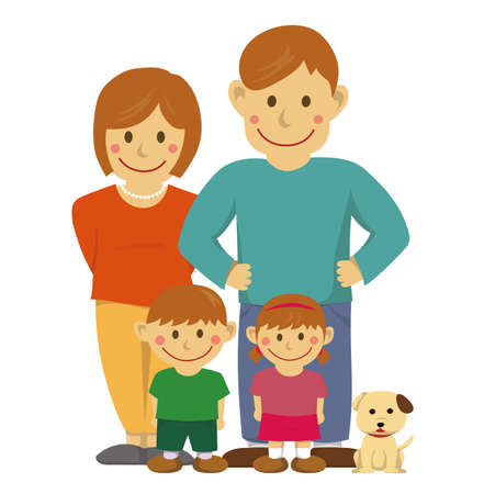 Family illustration of four with a dog on white background