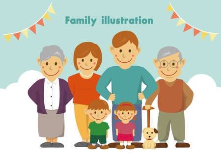 Family illustration  with grandparents.  Vector illustration. Stock Illustratie