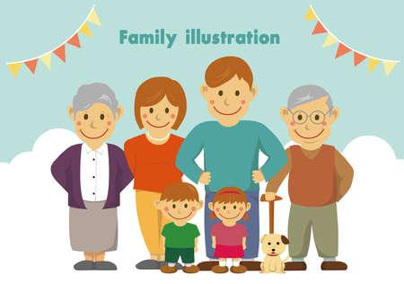 Family illustration  with grandparents.  Vector illustration. Vettoriali