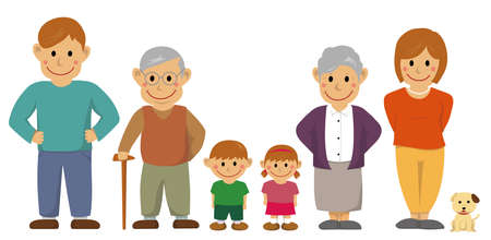 Family in a line illustration