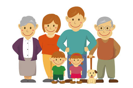 Family illustration with grandparents. No background version