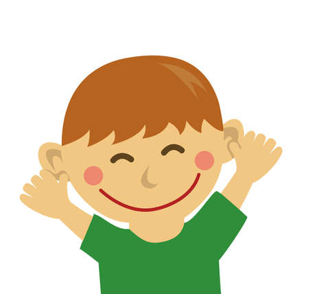 Cheering and smiling boy illustration