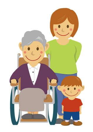 Family illustration  senior care.