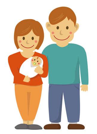 Family illustration with baby Ilustração