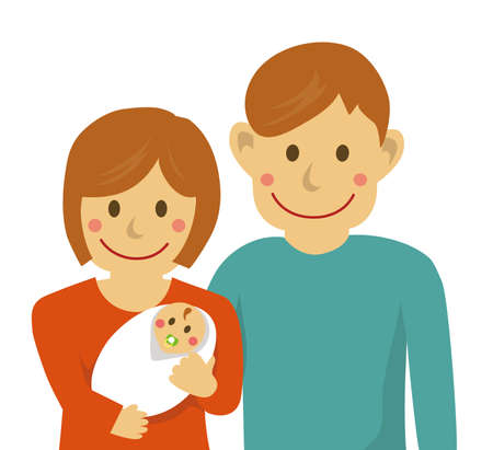Family illustration with baby/from the waist up