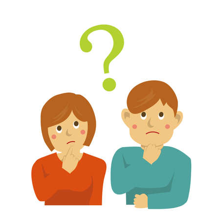 Man and woman have questions vector Illustration