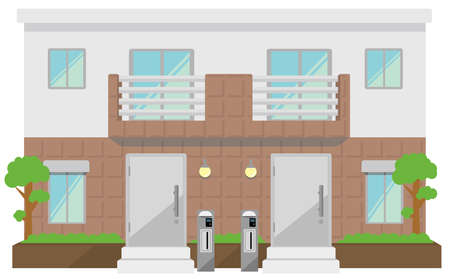 Two families home duplex home image illustration.