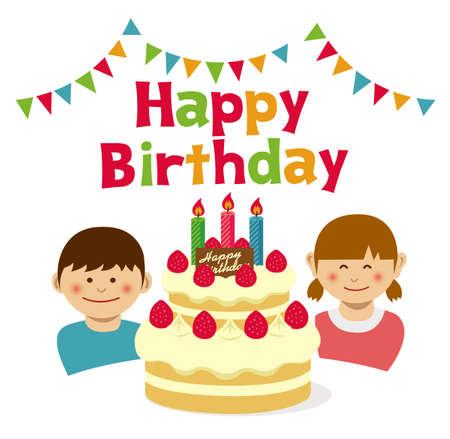 Happy Birthday cake and kids illustration.