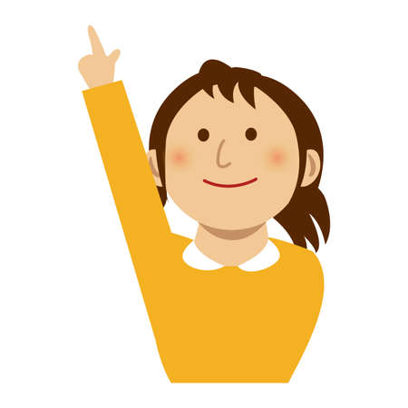 Woman pointing at something while smiling, vector illustration.