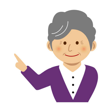 Old woman pointing at something while smiling, vector illustration. Illustration