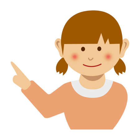 Girl pointing at something while smiling, vector illustration. 일러스트