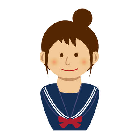 A school girl illustration  on white background.