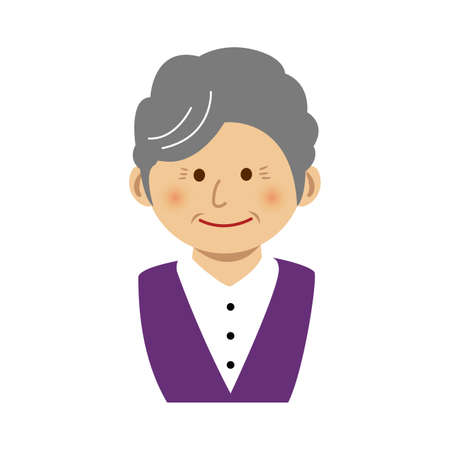 AN old woman illustration on white background.