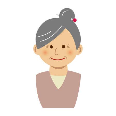 Old woman illustration on white background. Illustration